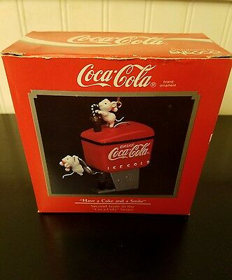 Enesco Coca Cola 1990 Christmas Ornament Have A Coke And A Smile 2Nd In Series