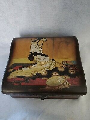 Japanese Geisha Jewelry  Box   Wood  Drawer