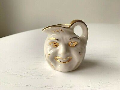 Vintage Miniature Man In The Moon Smiling Face Jug Creamer Pitcher Cream Gold