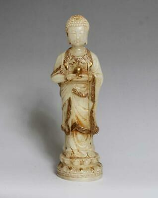 Old Antique Chinese White Jade Statue Sakyamuni Buddha-19.5cm