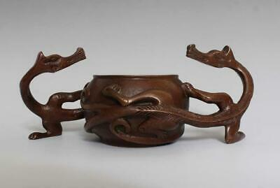 Perfect Antique Chinese Bronze Incense Burner with double dragons