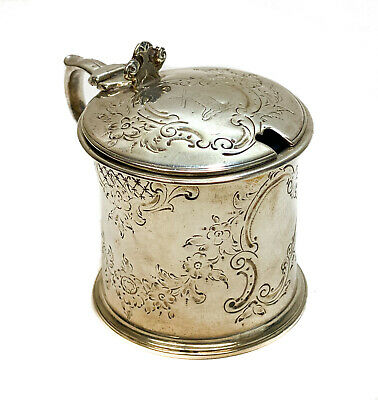 Henry Holland London Sterling Silver & Glass Lined Condiment Mustard Pot, 1858