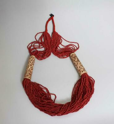 Large Old Antique Chinese Carved Natural Coral Necklace