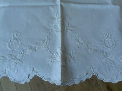 Pair of Vintage Linen large pillow cases with embroidered thistle design
