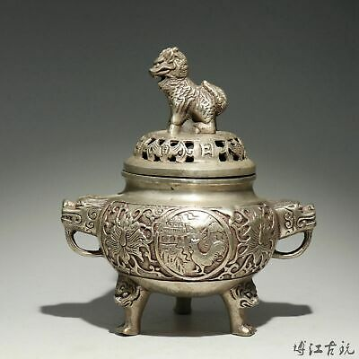 Collectable China Old Miao Silver Hand-Carved Myth Lion Moral Auspicious Censer