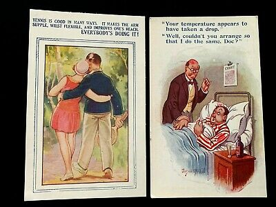 Artist Signed Comic Postcard Lot (2) Doctor and Tennis Romance Couple