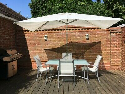 Garden Patio Furniture Set 6 Piece Outdoor Table, 4 Chairs & Parasol With Base
