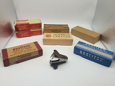 Lot of 7 Vintage BOXES Bostitch Swingline Staples See photos Partially Used