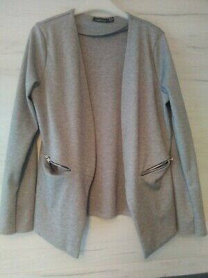 Women's Boohoo Smart Lightweight Over Jacket Colour Grey Size 10