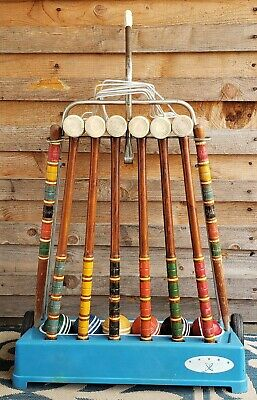 Vintage Wood Croquet Set With Rolling Rack 6 Mallets 6 Balls 9 Wickets 2 Stakes