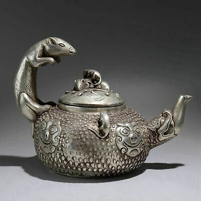 Collect China Old Miao Silver Hand-Carve Lovely Mouse & Lion Auspicious Tea Pot