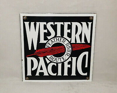 Western Pacific Feather River Route Railroad Porcelain Metal Sign