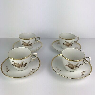 Set/4 Royal Copenhagen porcelain coffee cup and saucer, Brown Rose, vintage