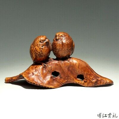 Collect China Old Boxwood Hand-Carved Bird & Leaf Delicate Unique Decor Statue