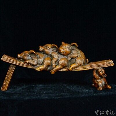 Collectable China Old Boxwood Hand-Carved Four Xi Pig Delicate Decorate Statue