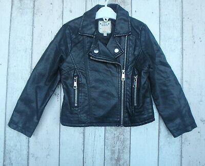 ** Gorgeous Girls Faux Leather  Black Biker Jacket - M&S (3 - 4 years) **