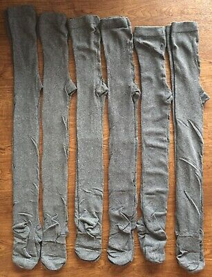 Next Girls Grey School Tights Six Pairs 6 Pack Size 9-10 Years