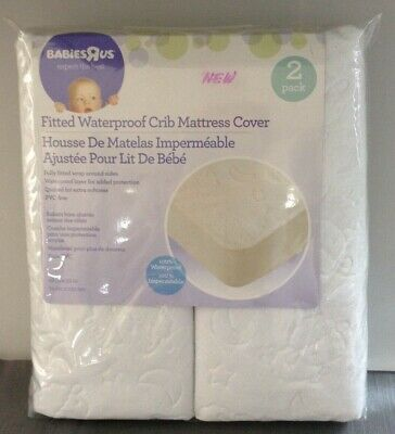 Babies R Us Two Fitted Waterproof Crib Mattress Cover 52x28  Rare~ New~ 2 Pack