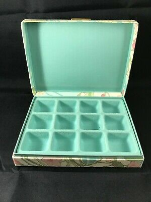 "Fabric Covered Jewelry Box With 12 Compartments - Floral Pattern - 8"" X 6"" X 2"""