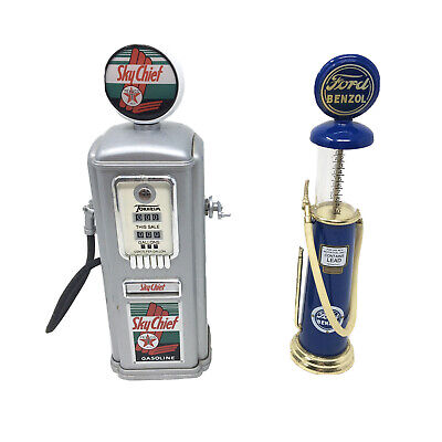 Pair Of Collectible Toy Gas Pumps Yexaco Sky Chief And Ford Benzol Truck Car