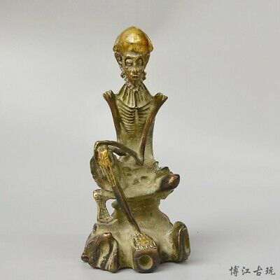 Collectable China Old Bronze & Gilding Hand-Carved Master Of Zen Exorcism Statue