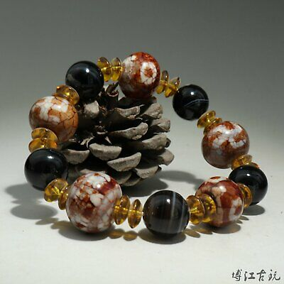 Collectable China Old Agate Hand-Carved Smooth Texture Bead Noble Decor Bracelet