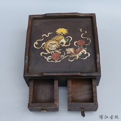 Collectable China Old Boxwood Inlay Seashell Carve Kylin Auspicious Jewel Box