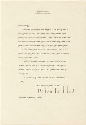 Helen Keller - Typed Letter Signed 10/11/1953