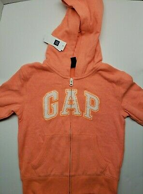 Gap Kids Orange Zip Logo Girls Applique Pullover Arch Hoodie Sweatshirt. Size S