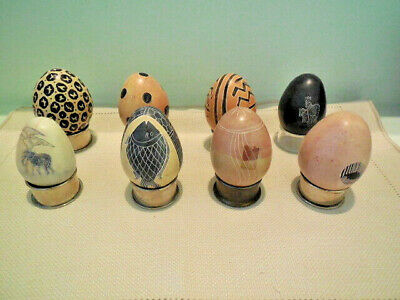 Lot of 8 Hand Carved Soapstone Eggs - Decorative - w/ Stands -  Kenya & others