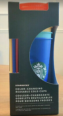 STARBUCKS COLOR CHANGING SUMMER PRIDE 2020 COLD CUPS REUSABLE 5 Sets Rainbow