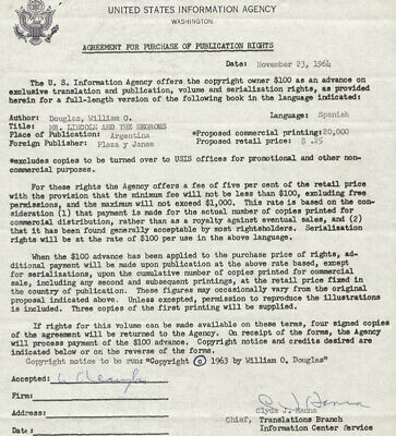 William O. Douglas - Document Signed 11/23/1964 Co-Signed By: Clyde J. Hanna