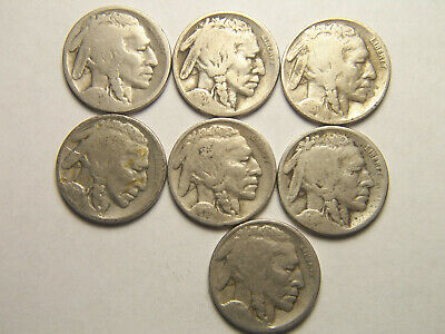 Lof of 7 Mixed Buffalo Nickels, includes 1931-S, and 1918-S