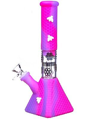 """11"""" Stratus Pyramid Glow In The Dark Silicone Bong Water Pipe Hookah Pink *USA*"""
