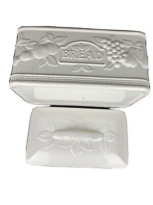 Embossed White Floral Large Ceramic Bread Box  Made In Portugal