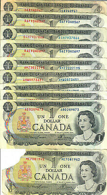 Lot of 10 1973 Canada $1 Banknotes, Circulated, Combined Shipping, HJPE 5-179