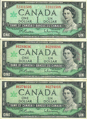 3 - 1967 Canada $1 Centennial Banknotes, Circulated, Combined Ship, HJPE 5-181