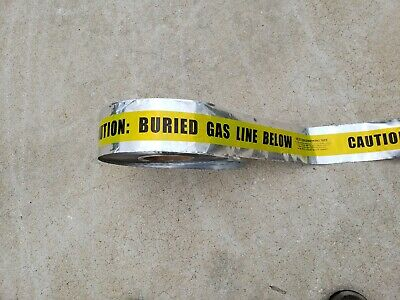 """3"""" x 900' Detectable Underground Tape """"CAUTION BURIED GAS LINE BELOW"""" Yellow"""