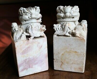 Pair of Heavy Vintage Chinese Foo Dog Carved Soapstone Book Ends