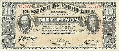 MEXICO REVOLUTION   (Chihuahua) 10 Pesos  1915   CAT #S535A  SERIE N
