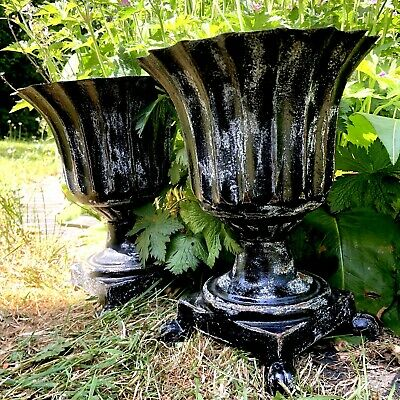 Antique Pair of Victorian cast iron petite  planters with clawed foot details.