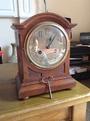 "Antique Striking Bracket Clock With Key 11 1/2"" X 9"" Working"