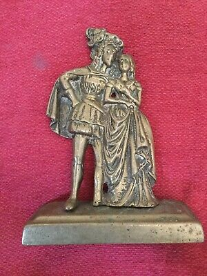 Cast Brass Figurine Cavalier With Lady No Visible Markings.