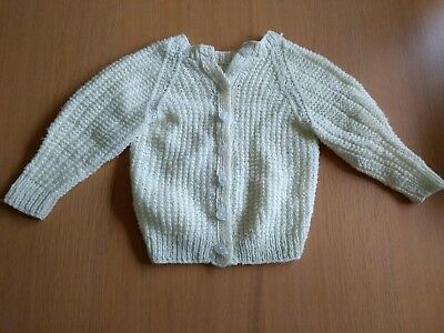 Pale Light Yellow Knitted Cardigan Jumper Top Long Sleeve Baby 12-18 18-24 Month