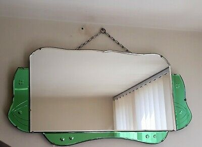 An Original Large Green Art Deco Vintage Mirror.