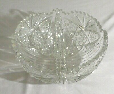 "Antique Victorian 9"" American Brilliant Period Fruit Or Center Bowl-Star Pattern"