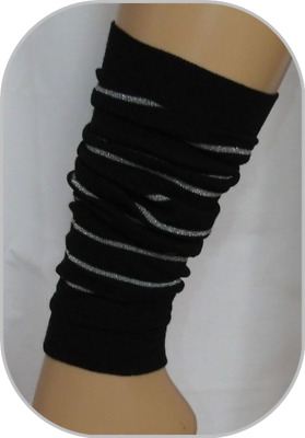 2 x pairs Black Leg Warmers Silver-sparkle Stripes ADAMS One Size COTTON RICH