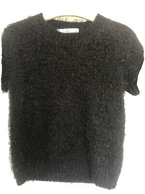 Girls Fluffy Black Sparkle Short Sleeved Sweater By M&S Age 7-8Yrs