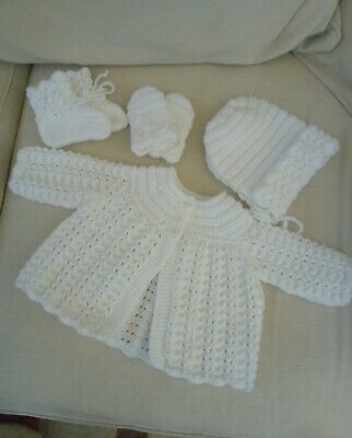 Hand knitted white baby 0-3 months matinee coat, bonnet, booties and mittens