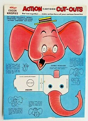 Vintage Kellogg's Cocoa Krispies Melvin The Elephant Cereal Box Back Cut-Out